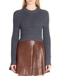 Michael Kors Cotton Denim Crewneck Sweater - Lyst