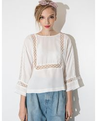 Pixie Market White Crochet Bib Blouse white - Lyst