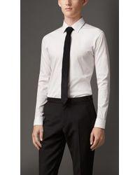 Burberry Slim Fit Stretch Cotton Blend Shirt - Lyst
