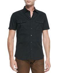 Ralph Lauren Black Label - Double-pocket Woven Short-sleeve Shirt - Lyst