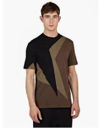 Neil Barrett Black Panelled Cotton T-Shirt brown - Lyst