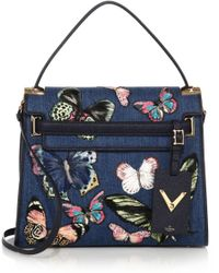 Valentino | Butterfly Embroidered Denim & Leather Satchel | Lyst