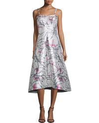 Phoebe - Strapless Printed Tea-length Gown - Lyst
