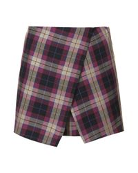 Topshop Asymmetric Checked Skort - Lyst
