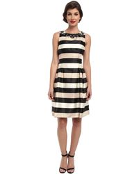 Eliza J Sleeveless Stripe Fit and Flare W Beaded Neckline - Lyst