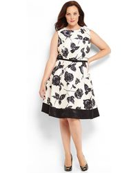Eliza J Plus Size Floral Print Belted Dress - Lyst