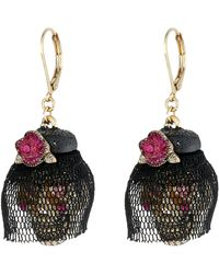 Betsey Johnson Creepshow Skull Flower Drop Earrings - Lyst