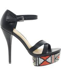 Elizabeth And James Elizabeth James Molli Heeled Sandal with Patterned Platform - Lyst