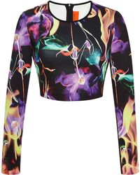 Clover Canyon Flamenco Fire Printed Neoprene Cropped Top - Lyst
