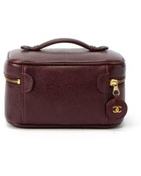 Chanel Preowned Wine Red Caviar Leather Vanity Bag - Lyst