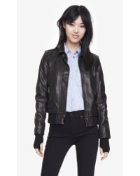 Express (Minus The) Leather Knit Trim Bomber Jacket - Lyst
