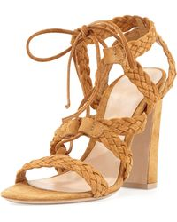Gianvito Rossi Braided Suede Tie Sandal - Lyst