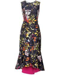 Oscar de la Renta Floral Silk And Cotton Midi Ruffle Dress - Lyst