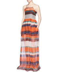 MSGM Stripe Silk Organza Maxi Dress - Lyst