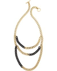 Michael Kors Two Tone Curb Chain Statement Necklace Two Tone Jet Pave - Lyst