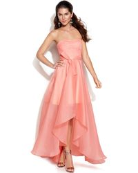 Js Boutique Strapless Lacebodice Highlow Gown - Lyst