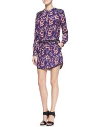 Veronica Beard Printed Solid-trim Keyhole Shirtdress - Lyst