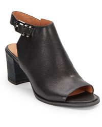 Kenneth Cole Anklestrap Opentoe Leather Mulesblack - Lyst