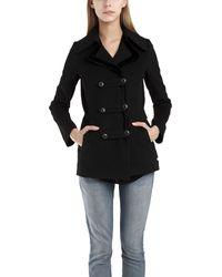 Charlotte Ronson Woolvelvet Pea Coat in Black - Lyst