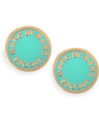 Marc By Marc Jacobs - Enamel Logo Disc Stud Earrings Blue - Lyst