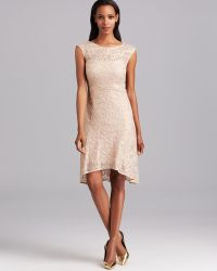 Kay Unger Dress Cap Sleeve Metallic Knit Lace Highlow - Lyst