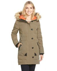 Vince Camuto - Down & Feather Fill Parka With Faux Fur Trim - Lyst