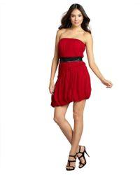 Vera Wang Lavender Lipstick Silk Chiffon Belted Bubble Hem Pleated Strapless Dress red - Lyst