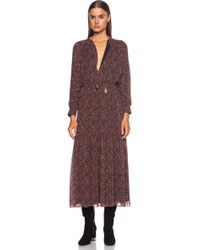 Saint Laurent Bohemian Long Silk Dress - Lyst