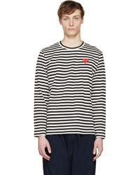 Play Comme des Garçons Black And White Striped Logo T_Shirt - Lyst