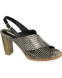 Dries Van Noten Tarsiers Reptile-Print Heeled Sandals - For Women - Lyst