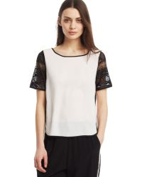Kenneth Cole Lace Sleeve Top - Lyst