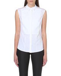 Karen Millen Meshpanelled Sleeveless Shirt White - Lyst