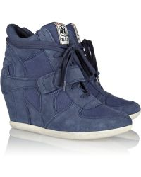 Ash Bowie Suede and Canvas Wedge Sneakers - Lyst
