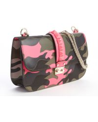 Valentino Rose Leather and Fabric Camouflage Chain Shoulder Bag - Lyst