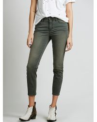 Free People Sueded Sateen Zipper Back Skinny - Lyst
