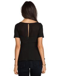 Elizabeth And James Selena Peplum Top in Black - Lyst