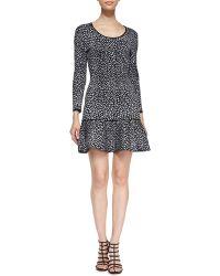 Rebecca Taylor Animalprint Dropskirt Dress - Lyst