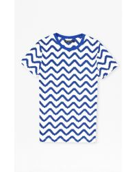French Connection Geo Herringbone Print T-Shirt blue - Lyst