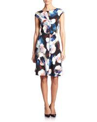 St. John Floral Silk Dress floral - Lyst