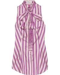 L'Wren Scott Striped Taffeta Pussybow Blouse - Lyst