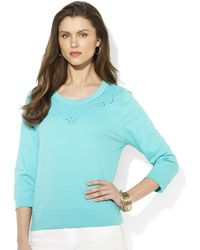 Lauren by Ralph Lauren  Three Quarter  Sleeve Embroidered Top - Lyst