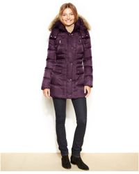 Kenneth Cole Reaction Hooded Faux-fur-trim Quilted Down Coat - Lyst