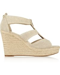 Michael by Michael Kors Damita Linencanvas Wedge Espadrille Sandals - Lyst