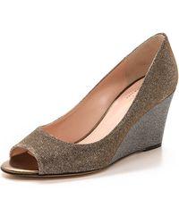 Kate Spade Radiant Peep Toe Wedges - Bronze - Lyst