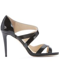 Jimmy Choo Black Patent Leather 'Valance' Strappy Sandals - Lyst