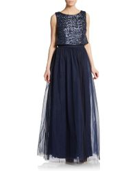 Vera Wang Sequin Popover Bodice Gown - Lyst
