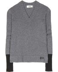 Fendi Gray Cashmere Sweater - Lyst