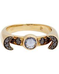 Pamela Love Sapphire Black Diamond  Gold Luna Ring - Lyst