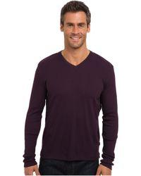 Calvin Klein Ls Nneck Rib W Double Collar Knit Shirt - Lyst