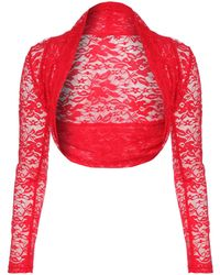 Jane Norman Long Sleeve Lace Shrug Top - Lyst